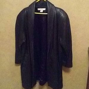 Large vintage 100% leather mid Trench coat